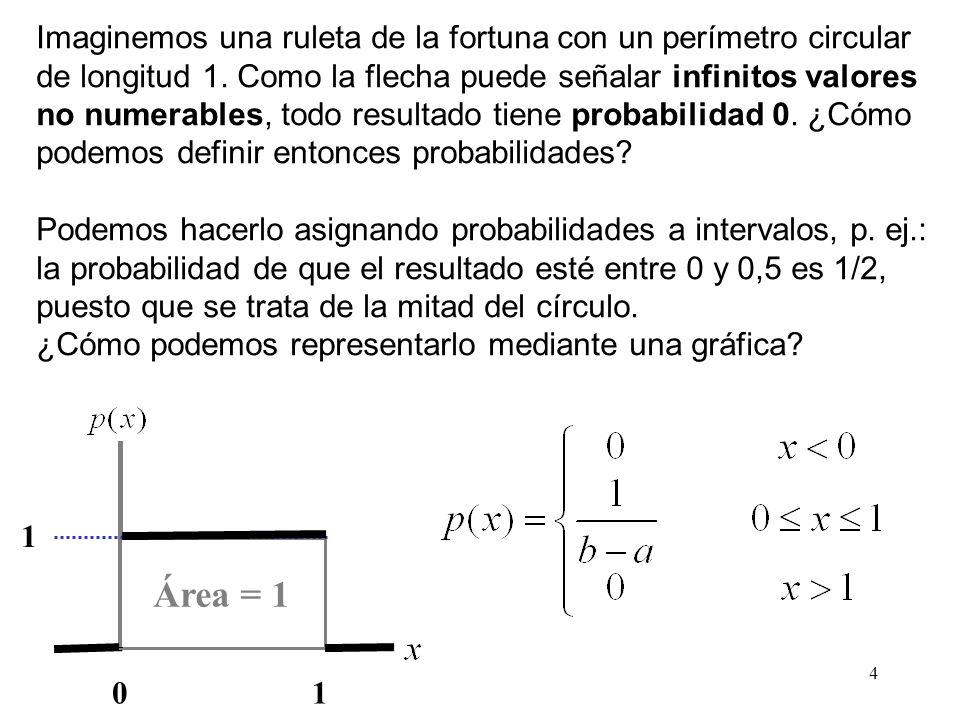 15 Esperanza matemática o media Decimos que una distribución es simétrica si existe un valor c tal que para cada real x: p (c + x) = p(c - x).