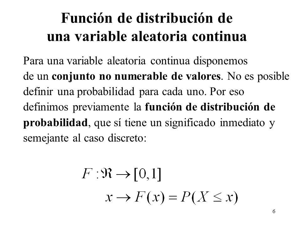 6 Función de distribución de una variable aleatoria continua Para una variable aleatoria continua disponemos de un conjunto no numerable de valores. N