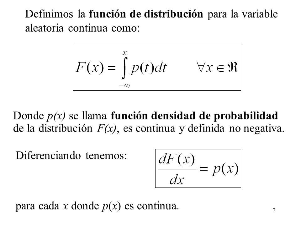 7 Donde p(x) se llama función densidad de probabilidad de la distribución F(x), es continua y definida no negativa. Diferenciando tenemos: para cada x