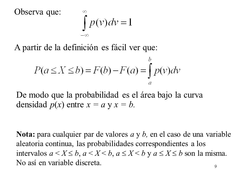 9 Observa que: De modo que la probabilidad es el área bajo la curva densidad p(x) entre x = a y x = b. A partir de la definición es fácil ver que: Not