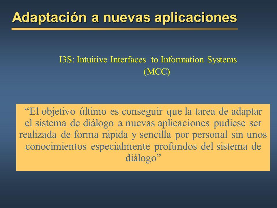 Dependencia de la aplicación Objetivo de proyectos de investigación: DISC, TRINDI, SIRIDUS I3S: Intuitive Interfaces to Information Systems Microelect