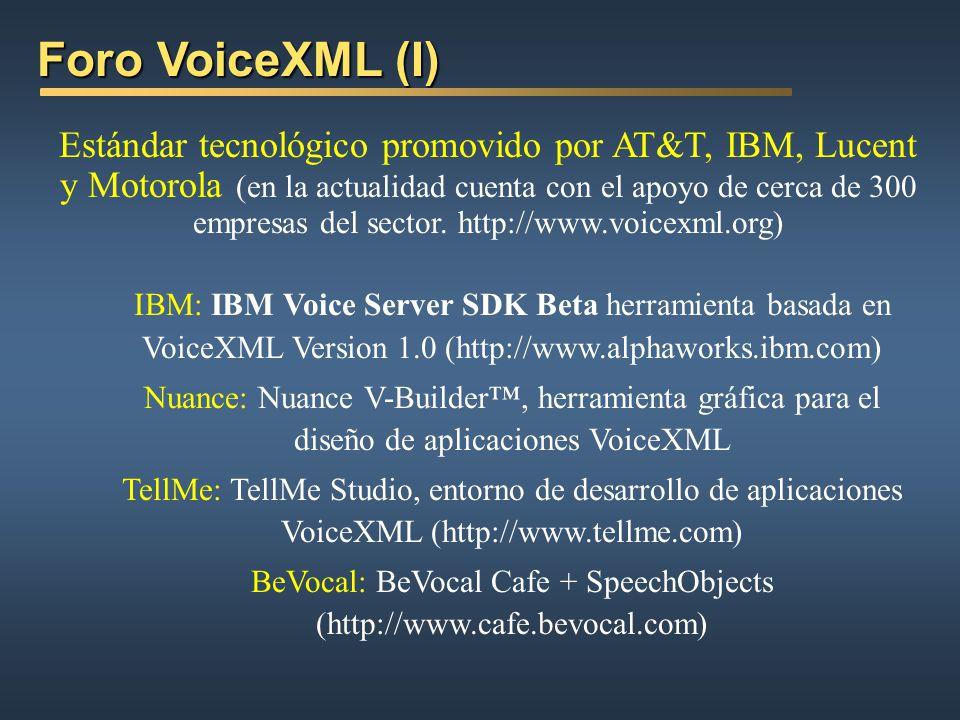 Bibliotecas de diálogos comunes Bibliotecas de diálogos comunes Nuance: (http://www.nuance.com) Voice Web Speech Objects: SpeechObjects are a set of o