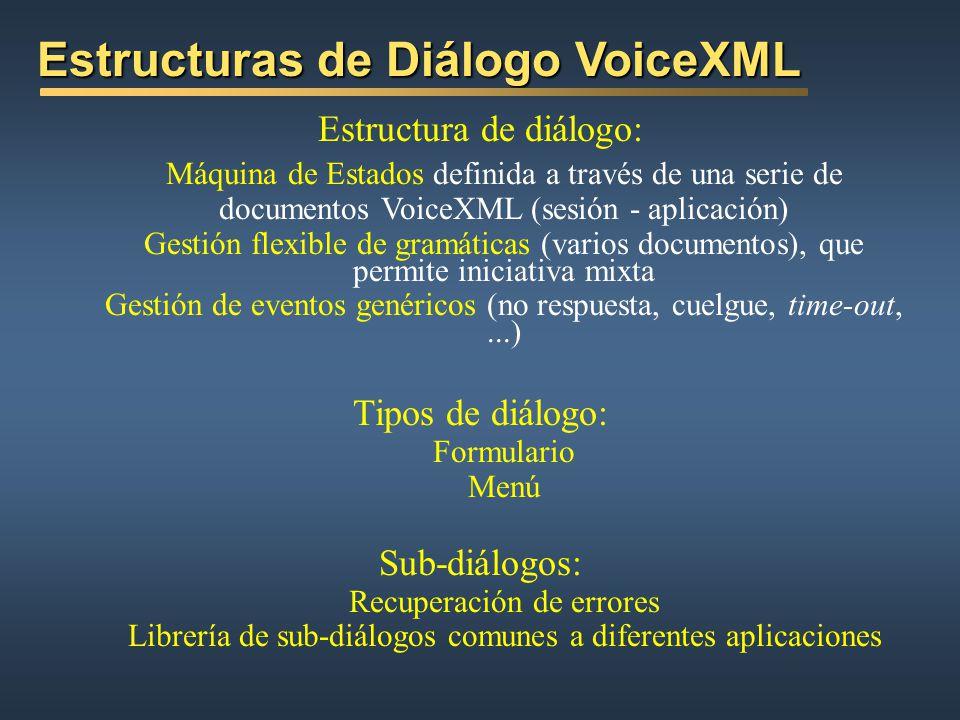 Modelo de Arquitectura VoiceXML Modelo de Arquitectura VoiceXML VoiceXML GATEWAY (Contexto del Intérprete VoiceXML) VoiceXML GATEWAY (Contexto del Int
