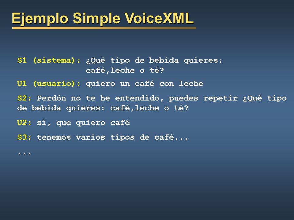 Ejemplo Simple VoiceXML Ejemplo Simple VoiceXML ¿Qué tipo de bebida quieres: café, leche o té? <goto next=http:/www.bebidas.ejemplo/bebidas2.asp submi