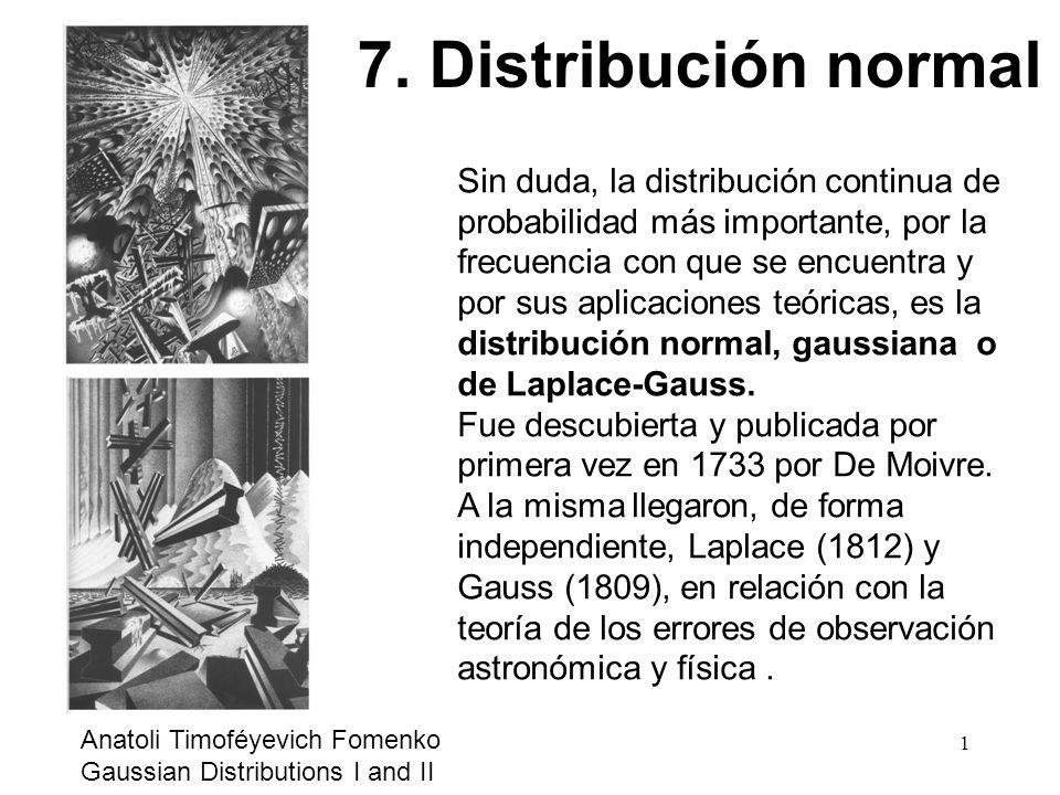 Sin duda, la distribución continua de probabilidad más importante, por la frecuencia con que se encuentra y por sus aplicaciones teóricas, es la distr