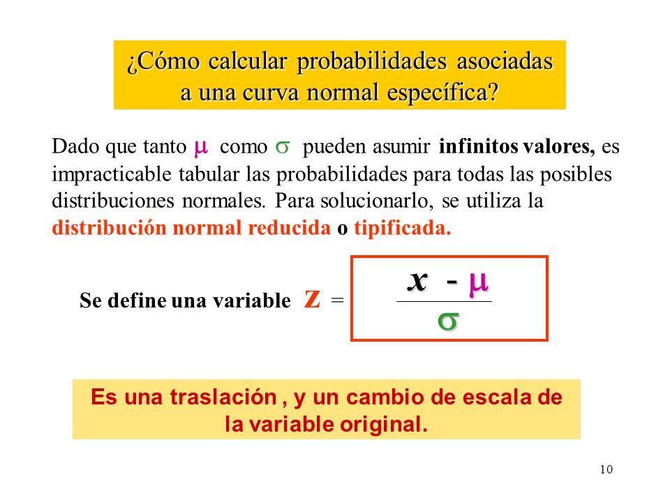 ¿Cómo calcular probabilidades asociadas a una curva normal específica? Dado que tanto como pueden asumir infinitos valores, es impracticable tabular l
