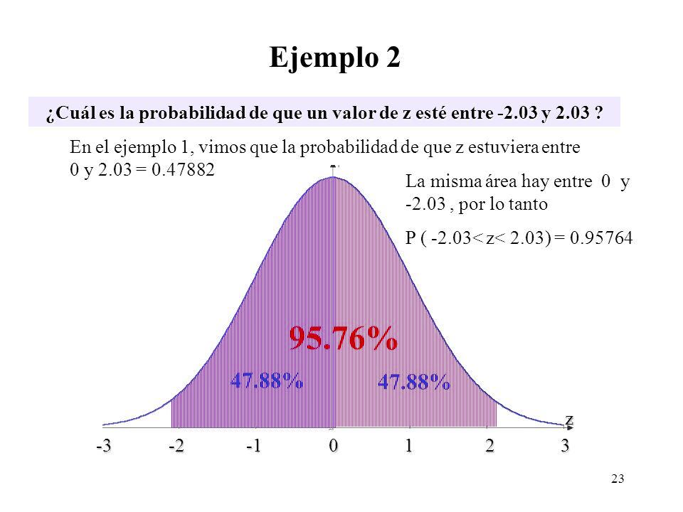 ? 47.88% Ejemplo 2 ¿Cuál es la probabilidad de que un valor de z esté entre -2.03 y 2.03 ? -3 -2 -1 0 1 2 3 -3 -2 -1 0 1 2 3 z En el ejemplo 1, vimos