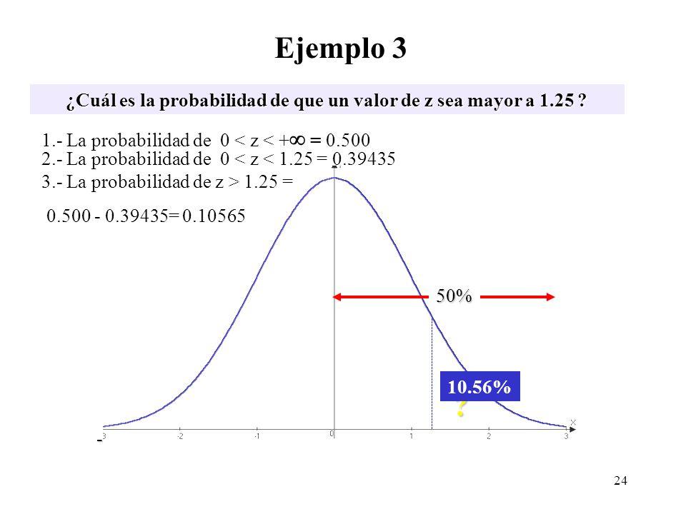 Ejemplo 3 ¿Cuál es la probabilidad de que un valor de z sea mayor a 1.25 ? z -3 -2 -1 0 1 2 3 -3 -2 -1 0 1 2 3 ? 1.- La probabilidad de 0 < z < + = 0.