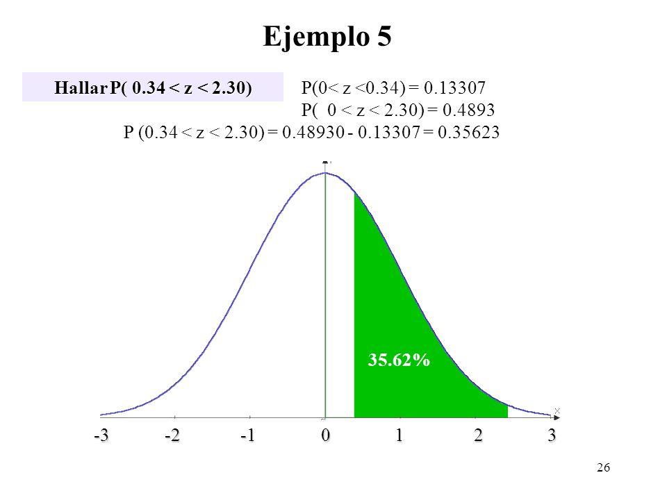 Ejemplo 5 Hallar P( 0.34 < z < 2.30) z -3 -2 -1 0 1 2 3 -3 -2 -1 0 1 2 3 P(0< z <0.34) = 0.13307 P( 0 < z < 2.30) = 0.4893 P (0.34 < z < 2.30) = 0.489