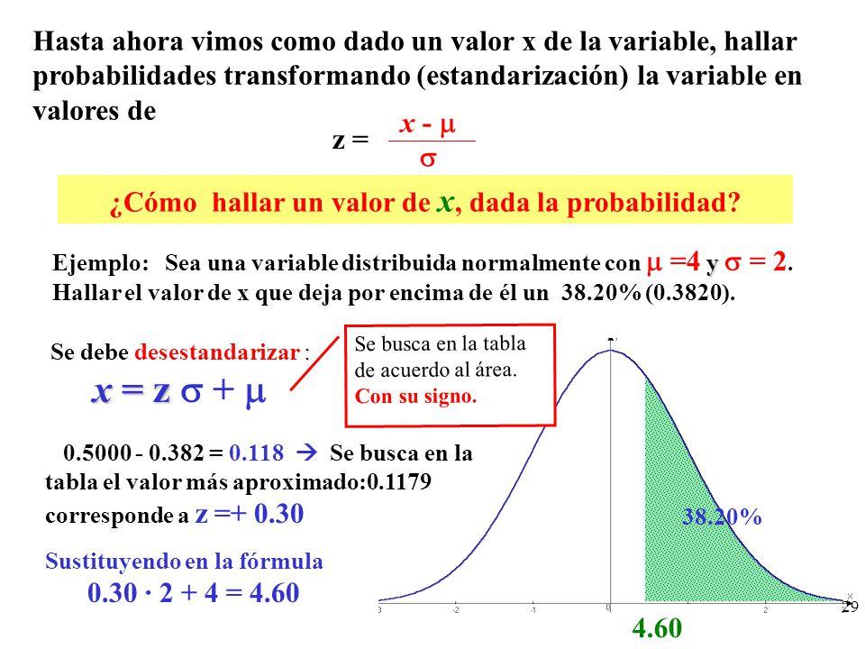 Hasta ahora vimos como dado un valor x de la variable, hallar probabilidades transformando (estandarización) la variable en valores de x - ¿Cómo halla