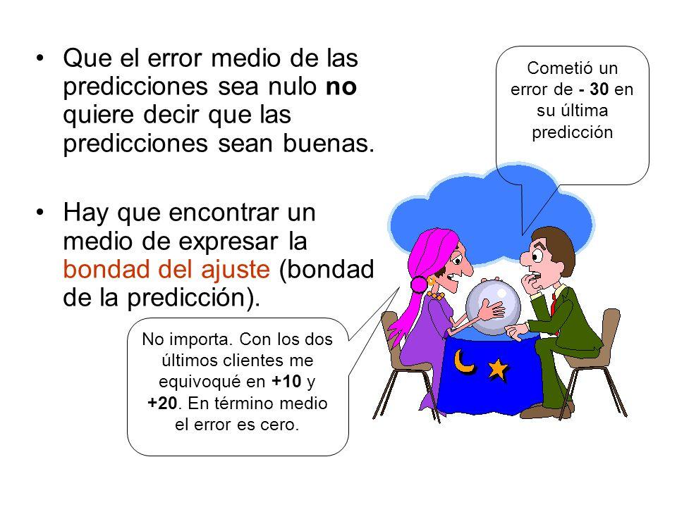 Que el error medio de las predicciones sea nulo no quiere decir que las predicciones sean buenas.