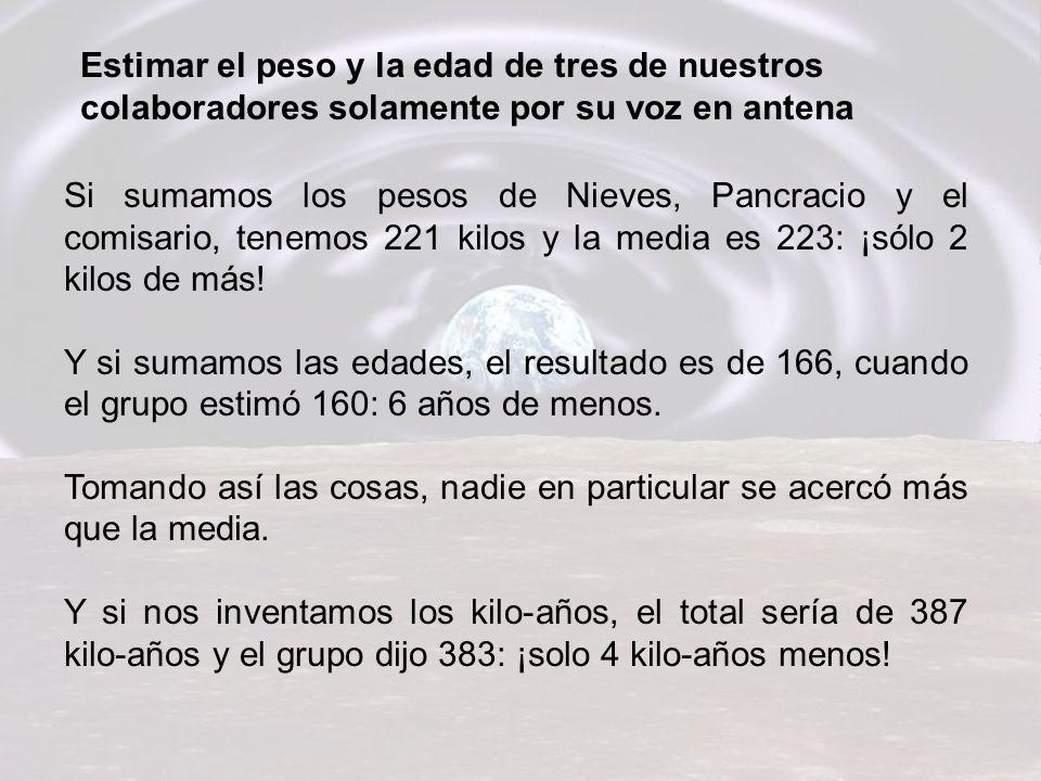 Si sumamos los pesos de Nieves, Pancracio y el comisario, tenemos 221 kilos y la media es 223: ¡sólo 2 kilos de más.