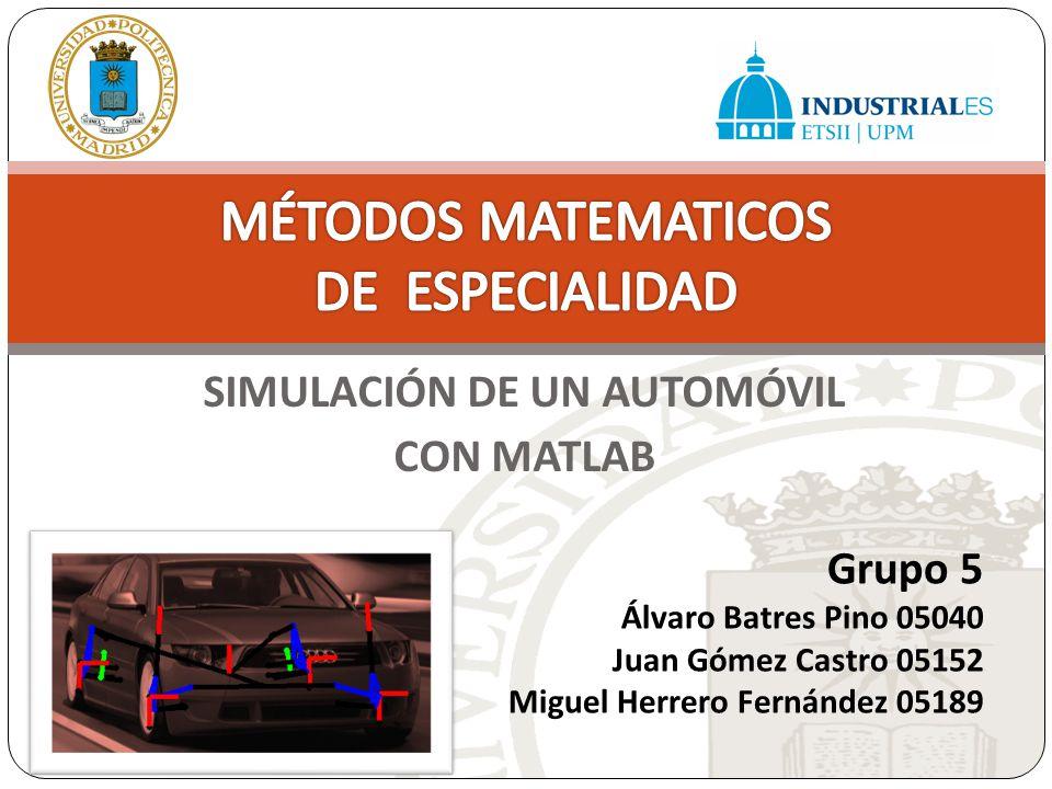 SIMULACIÓN DE UN AUTOMÓVIL CON MATLAB Grupo 5 Álvaro Batres Pino 05040 Juan Gómez Castro 05152 Miguel Herrero Fernández 05189