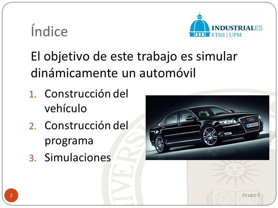 Índice El objetivo de este trabajo es simular dinámicamente un automóvil Grupo 5 2 1. Construcción del vehículo 2. Construcción del programa 3. Simula