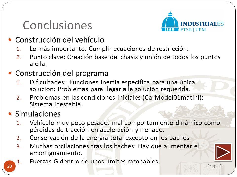 Conclusiones Construcción del vehículo 1. Lo más importante: Cumplir ecuaciones de restricción. 2. Punto clave: Creación base del chasis y unión de to
