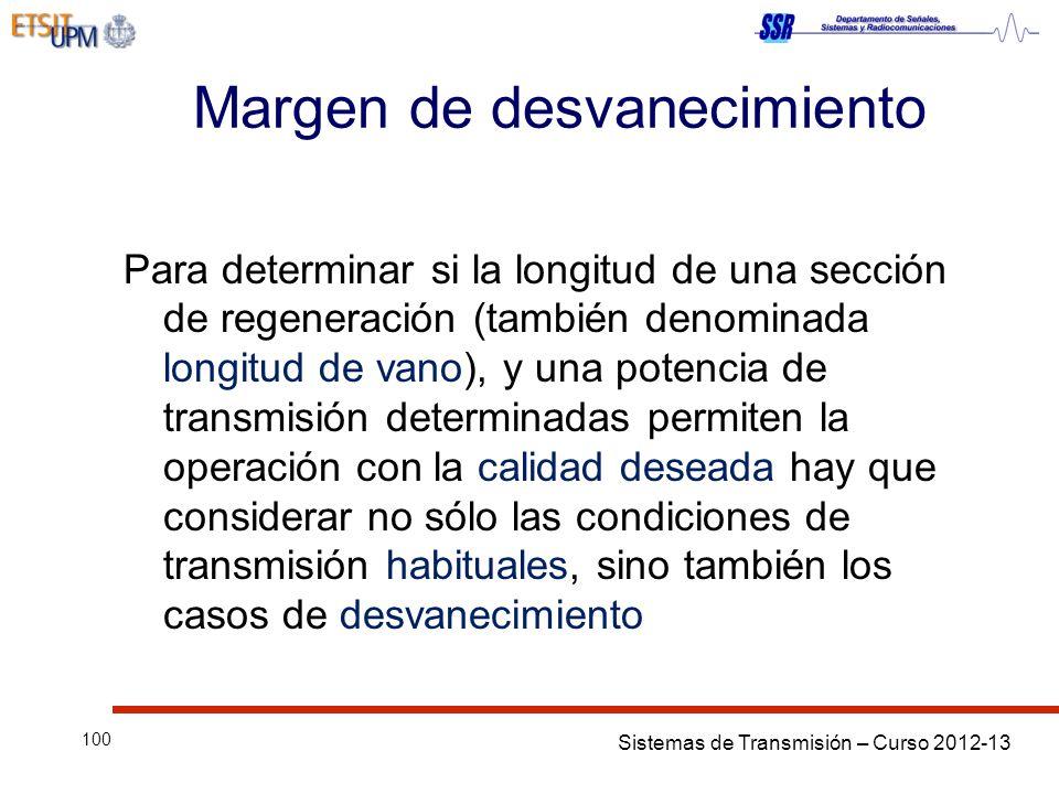 Sistemas de Transmisión – Curso 2012-13 100 Margen de desvanecimiento Para determinar si la longitud de una sección de regeneración (también denominad