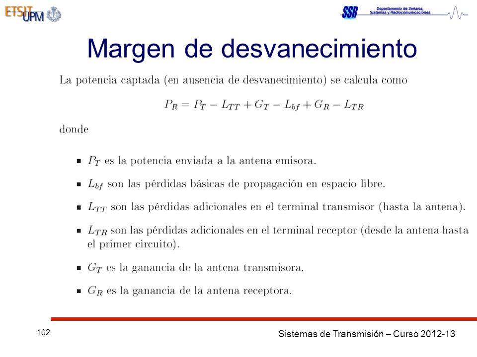Sistemas de Transmisión – Curso 2012-13 102 Margen de desvanecimiento