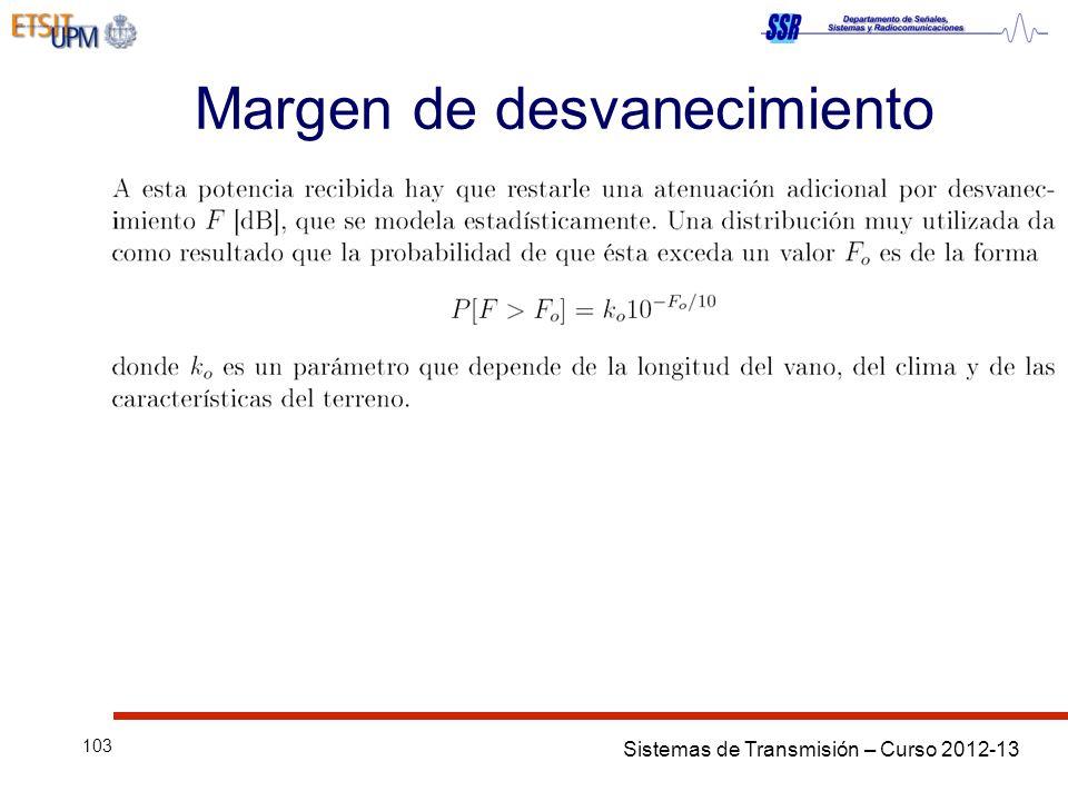Sistemas de Transmisión – Curso 2012-13 103 Margen de desvanecimiento