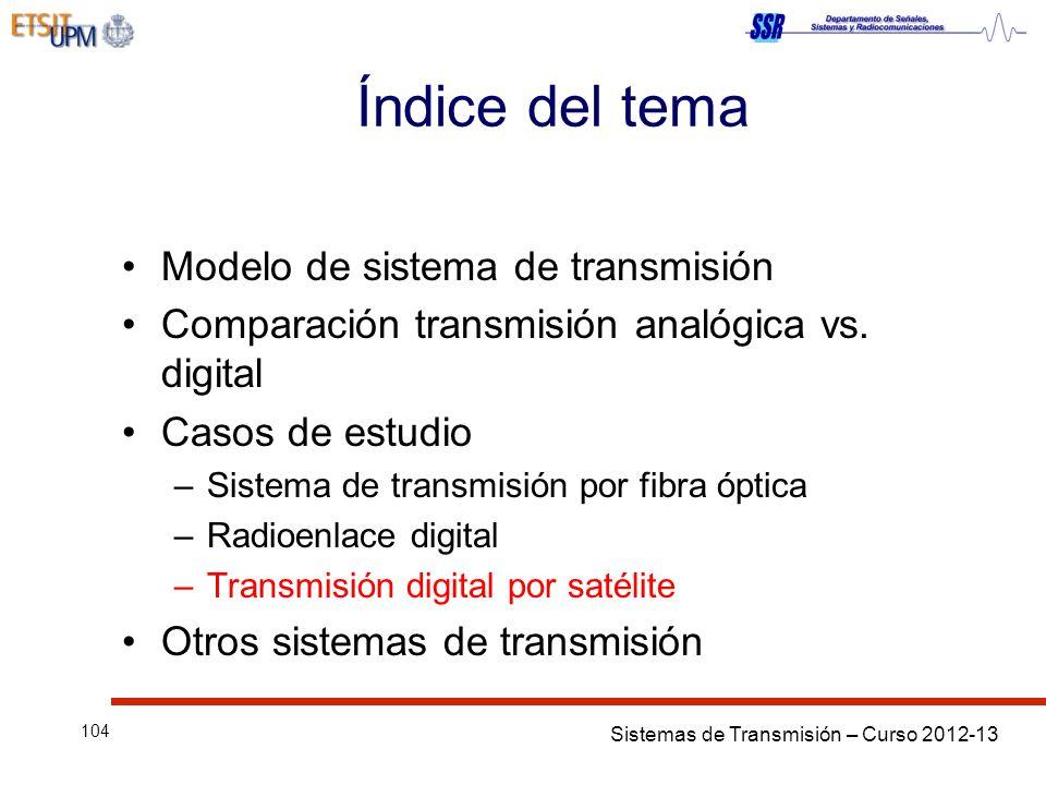 Sistemas de Transmisión – Curso 2012-13 104 Índice del tema Modelo de sistema de transmisión Comparación transmisión analógica vs. digital Casos de es
