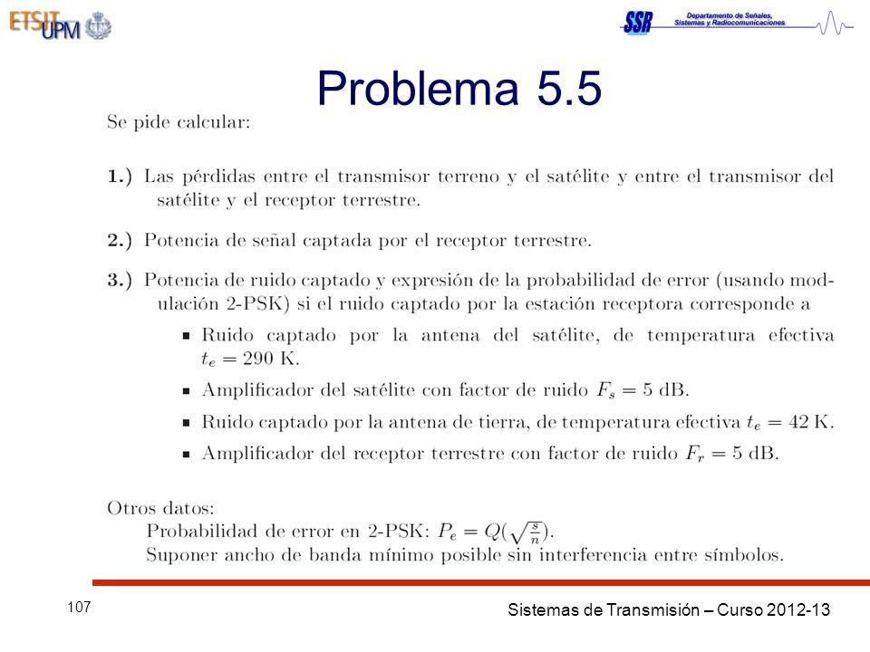 Sistemas de Transmisión – Curso 2012-13 107 Problema 5.5