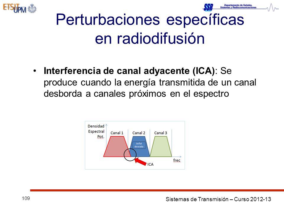 Sistemas de Transmisión – Curso 2012-13 109 Perturbaciones específicas en radiodifusión Interferencia de canal adyacente (ICA): Se produce cuando la energía transmitida de un canal desborda a canales próximos en el espectro