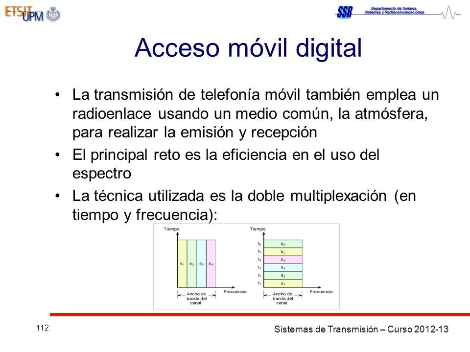 Sistemas de Transmisión – Curso 2012-13 112 Acceso móvil digital La transmisión de telefonía móvil también emplea un radioenlace usando un medio común