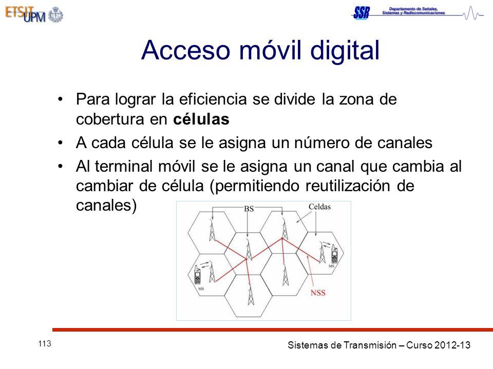 Sistemas de Transmisión – Curso 2012-13 113 Acceso móvil digital Para lograr la eficiencia se divide la zona de cobertura en células A cada célula se
