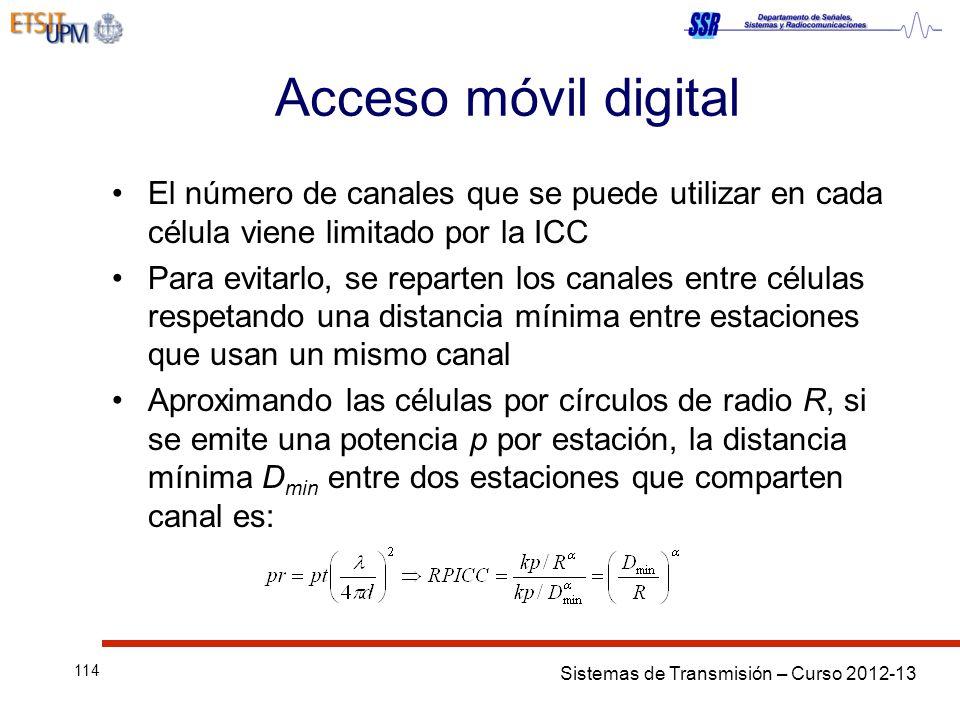 Sistemas de Transmisión – Curso 2012-13 114 Acceso móvil digital El número de canales que se puede utilizar en cada célula viene limitado por la ICC P