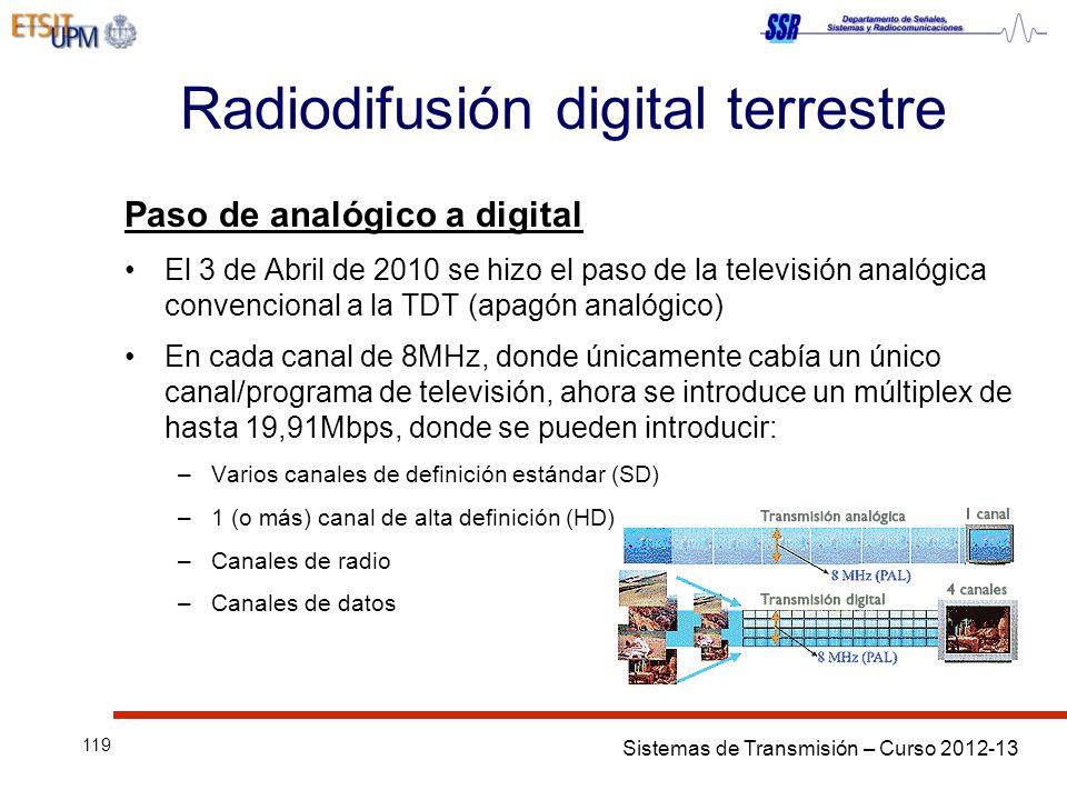 Sistemas de Transmisión – Curso 2012-13 119 Radiodifusión digital terrestre Paso de analógico a digital El 3 de Abril de 2010 se hizo el paso de la televisión analógica convencional a la TDT (apagón analógico) En cada canal de 8MHz, donde únicamente cabía un único canal/programa de televisión, ahora se introduce un múltiplex de hasta 19,91Mbps, donde se pueden introducir: –Varios canales de definición estándar (SD) –1 (o más) canal de alta definición (HD) –Canales de radio –Canales de datos