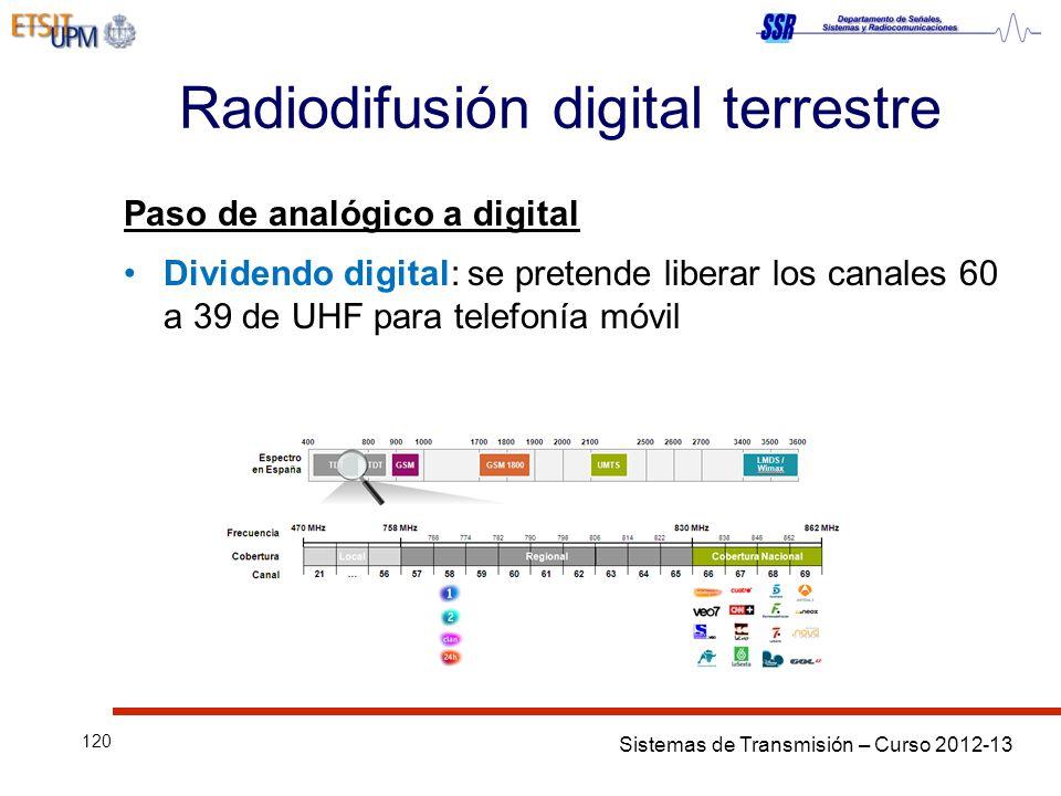Sistemas de Transmisión – Curso 2012-13 120 Radiodifusión digital terrestre Paso de analógico a digital Dividendo digital: se pretende liberar los canales 60 a 39 de UHF para telefonía móvil