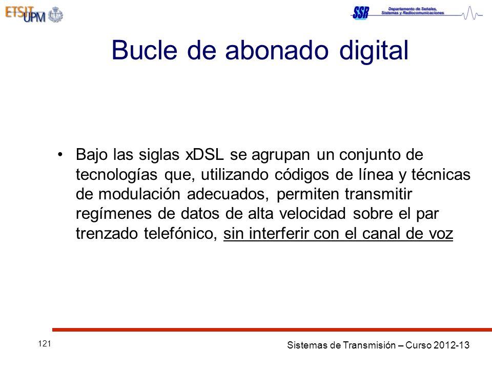 Sistemas de Transmisión – Curso 2012-13 121 Bucle de abonado digital Bajo las siglas xDSL se agrupan un conjunto de tecnologías que, utilizando código