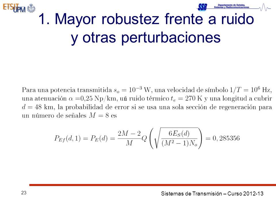 Sistemas de Transmisión – Curso 2012-13 23 1. Mayor robustez frente a ruido y otras perturbaciones
