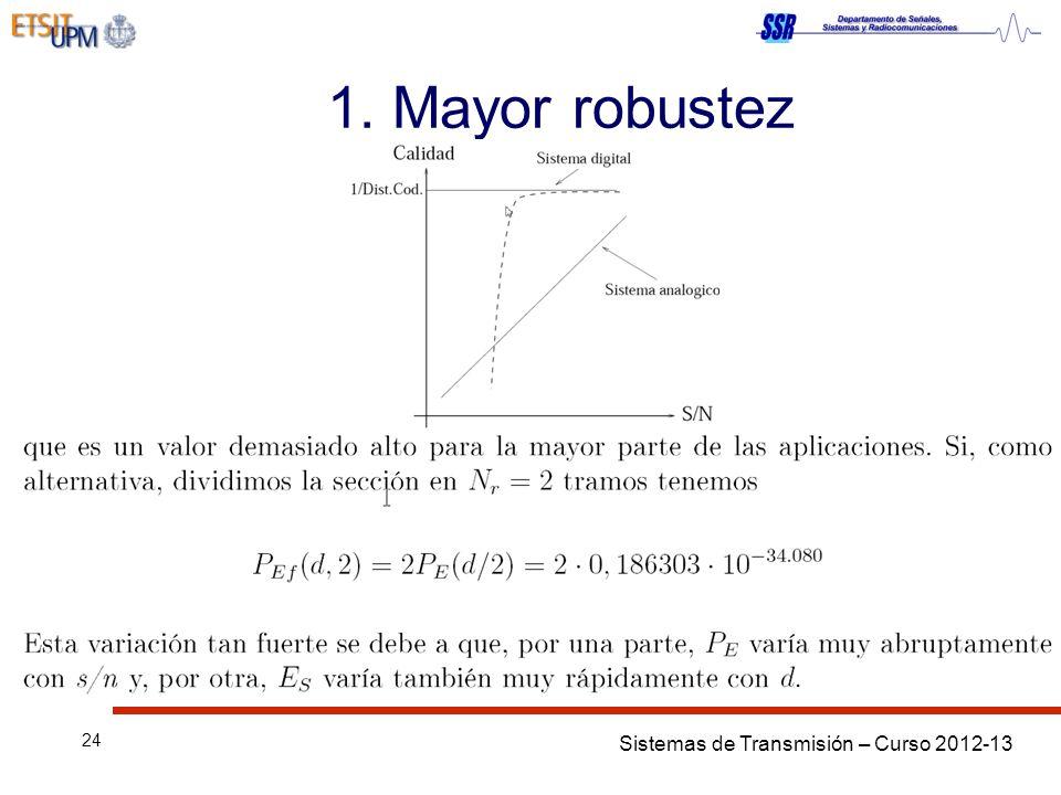 Sistemas de Transmisión – Curso 2012-13 24 1. Mayor robustez