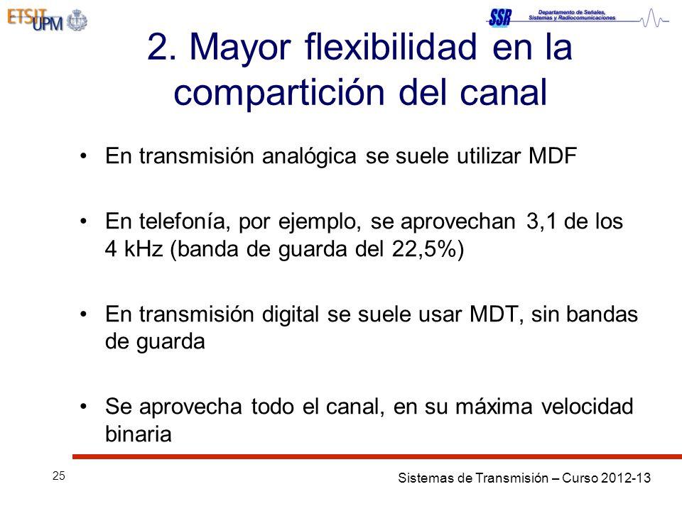 Sistemas de Transmisión – Curso 2012-13 25 2. Mayor flexibilidad en la compartición del canal En transmisión analógica se suele utilizar MDF En telefo