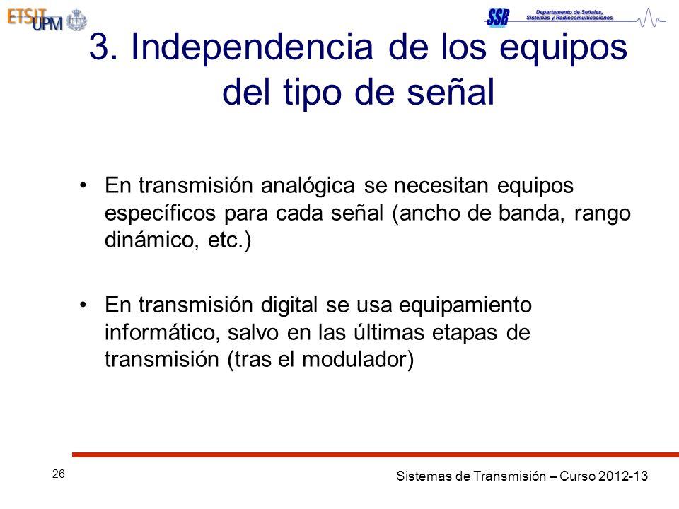 Sistemas de Transmisión – Curso 2012-13 26 3. Independencia de los equipos del tipo de señal En transmisión analógica se necesitan equipos específicos