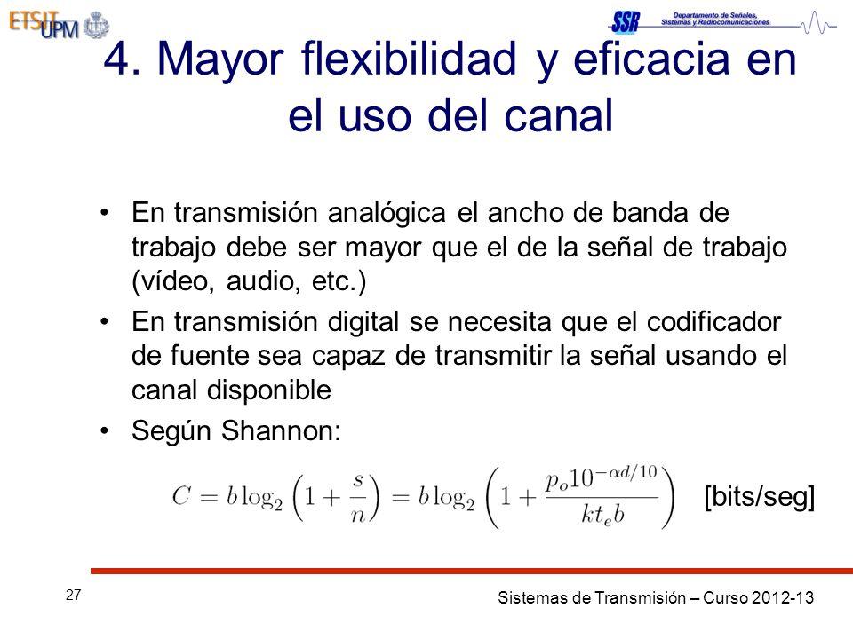Sistemas de Transmisión – Curso 2012-13 27 4. Mayor flexibilidad y eficacia en el uso del canal En transmisión analógica el ancho de banda de trabajo