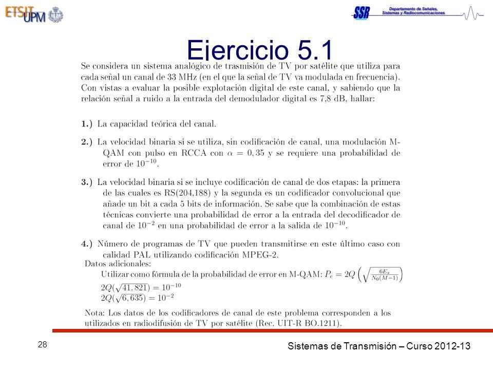 Sistemas de Transmisión – Curso 2012-13 28 Ejercicio 5.1