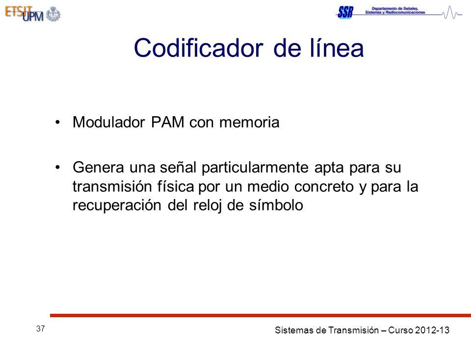 Sistemas de Transmisión – Curso 2012-13 37 Codificador de línea Modulador PAM con memoria Genera una señal particularmente apta para su transmisión física por un medio concreto y para la recuperación del reloj de símbolo