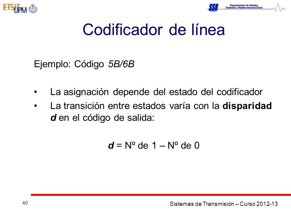 Sistemas de Transmisión – Curso 2012-13 40 Codificador de línea Ejemplo: Código 5B/6B La asignación depende del estado del codificador La transición entre estados varía con la disparidad d en el código de salida: d = Nº de 1 – Nº de 0