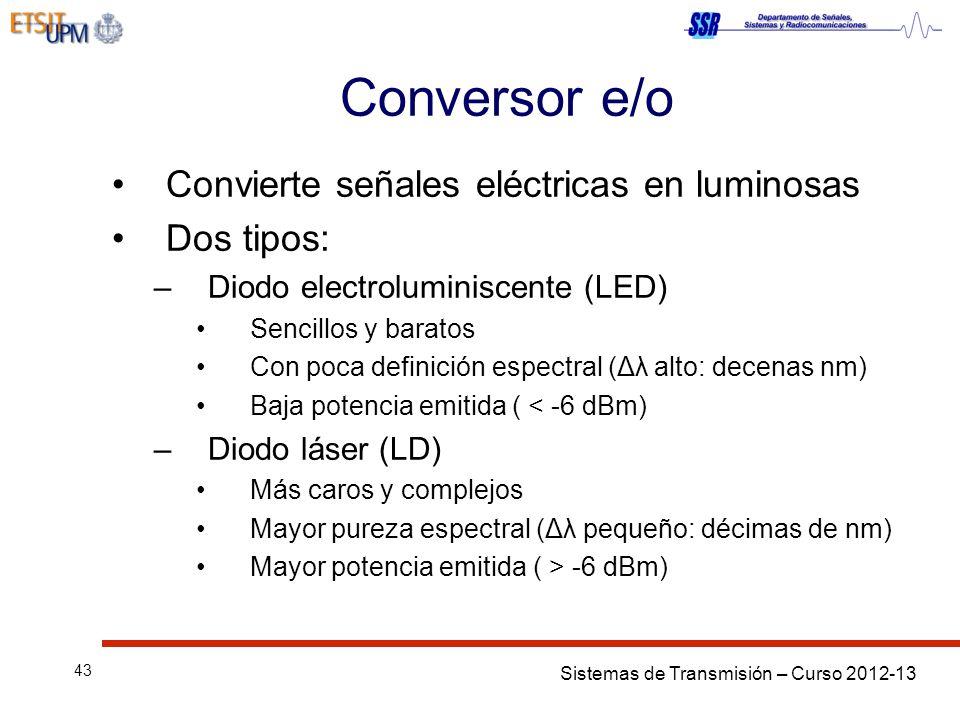 Sistemas de Transmisión – Curso 2012-13 43 Conversor e/o Convierte señales eléctricas en luminosas Dos tipos: –Diodo electroluminiscente (LED) Sencillos y baratos Con poca definición espectral (Δλ alto: decenas nm) Baja potencia emitida ( < -6 dBm) –Diodo láser (LD) Más caros y complejos Mayor pureza espectral (Δλ pequeño: décimas de nm) Mayor potencia emitida ( > -6 dBm)