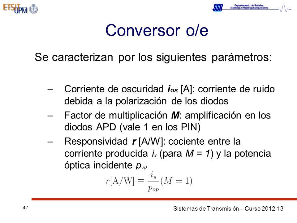 Sistemas de Transmisión – Curso 2012-13 47 Conversor o/e Se caracterizan por los siguientes parámetros: –Corriente de oscuridad i os [A]: corriente de ruido debida a la polarización de los diodos –Factor de multiplicación M: amplificación en los diodos APD (vale 1 en los PIN) –Responsividad r [A/W]: cociente entre la corriente producida i s (para M = 1) y la potencia óptica incidente p op