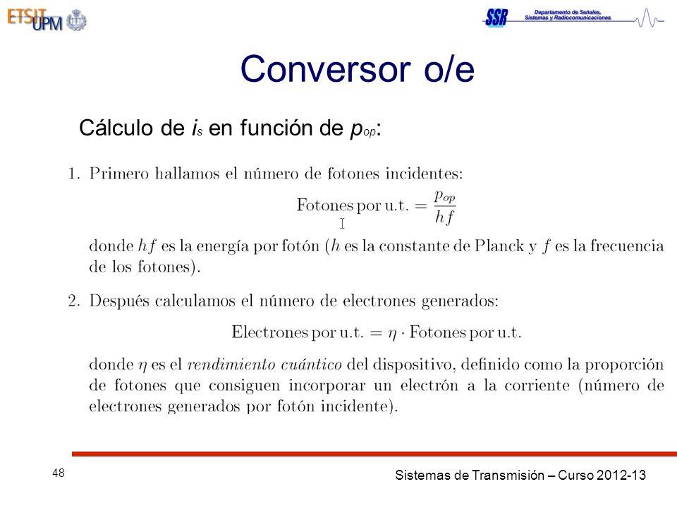 Sistemas de Transmisión – Curso 2012-13 48 Conversor o/e Cálculo de i s en función de p op :