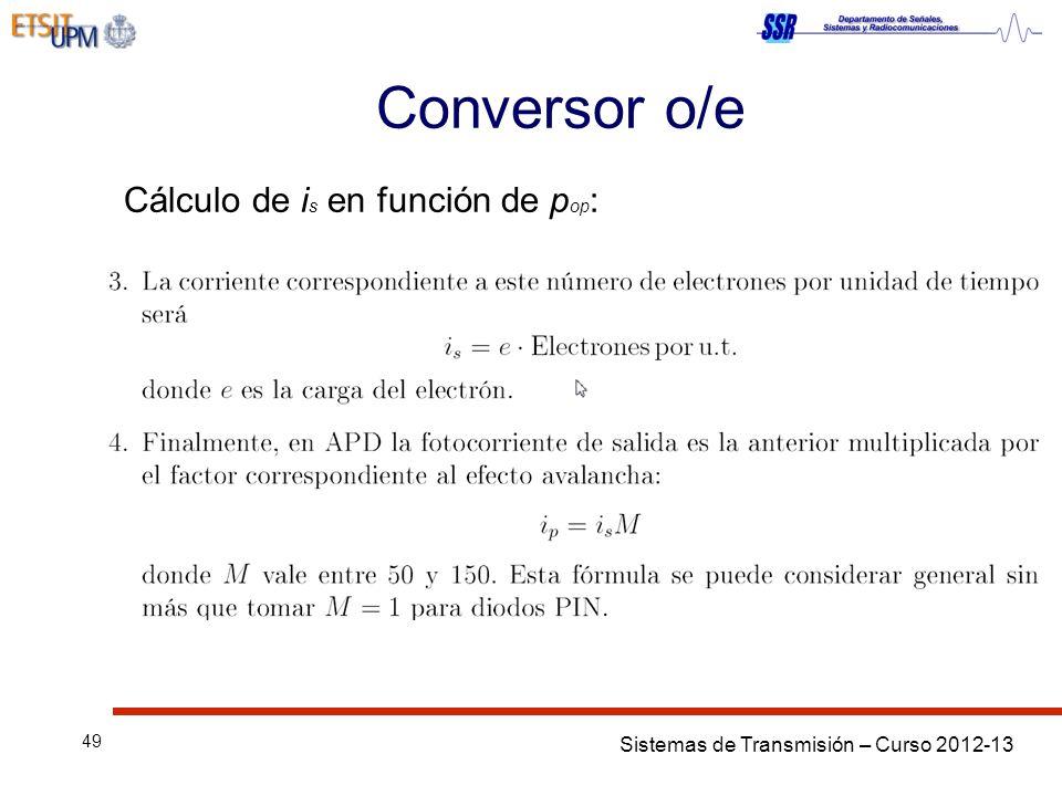 Sistemas de Transmisión – Curso 2012-13 49 Conversor o/e Cálculo de i s en función de p op :