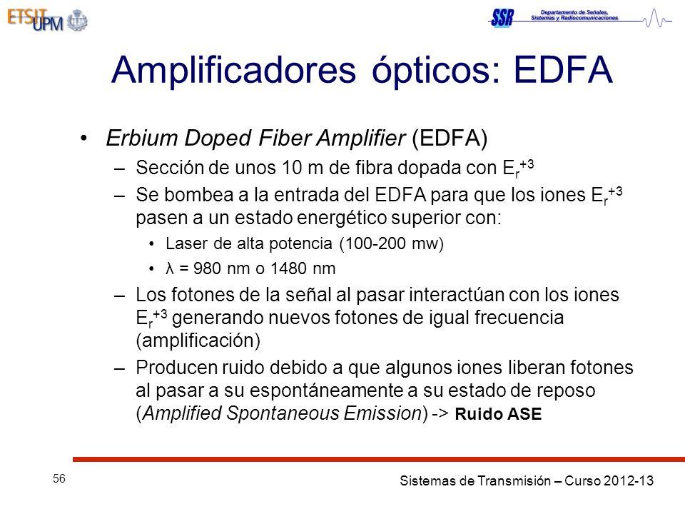 Sistemas de Transmisión – Curso 2012-13 56 Amplificadores ópticos: EDFA Erbium Doped Fiber Amplifier (EDFA) –Sección de unos 10 m de fibra dopada con E r +3 –Se bombea a la entrada del EDFA para que los iones E r +3 pasen a un estado energético superior con: Laser de alta potencia (100-200 mw) λ = 980 nm o 1480 nm –Los fotones de la señal al pasar interactúan con los iones E r +3 generando nuevos fotones de igual frecuencia (amplificación) –Producen ruido debido a que algunos iones liberan fotones al pasar a su espontáneamente a su estado de reposo (Amplified Spontaneous Emission) -> Ruido ASE