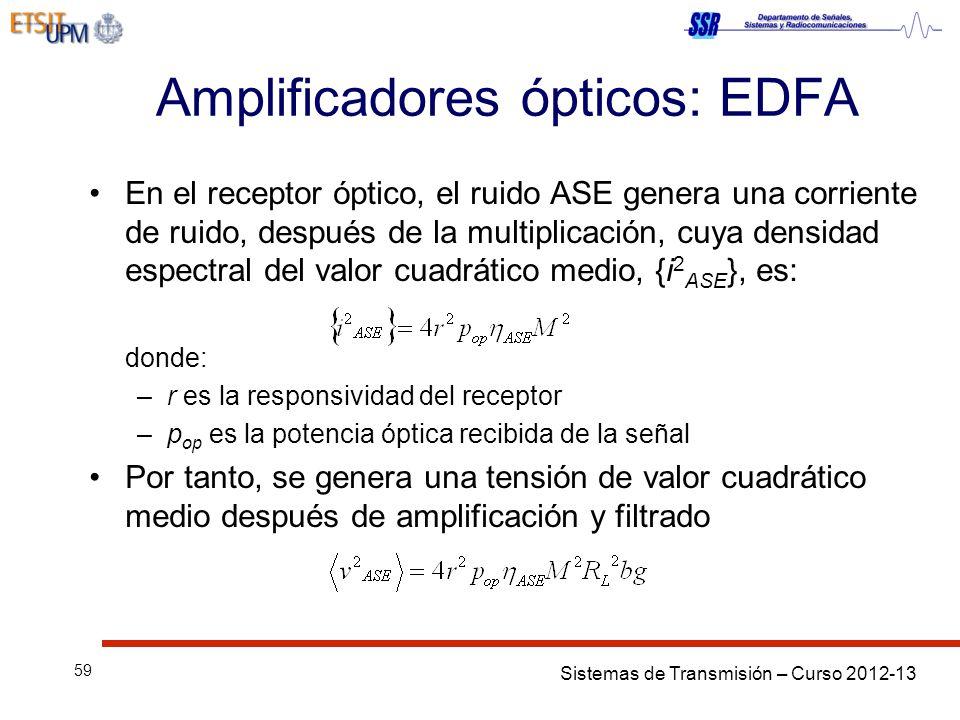 Sistemas de Transmisión – Curso 2012-13 59 Amplificadores ópticos: EDFA En el receptor óptico, el ruido ASE genera una corriente de ruido, después de la multiplicación, cuya densidad espectral del valor cuadrático medio, {i 2 ASE }, es: donde: –r es la responsividad del receptor –p op es la potencia óptica recibida de la señal Por tanto, se genera una tensión de valor cuadrático medio después de amplificación y filtrado