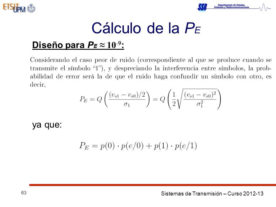 Sistemas de Transmisión – Curso 2012-13 63 Cálculo de la P E Diseño para P E 10 -9 : ya que: