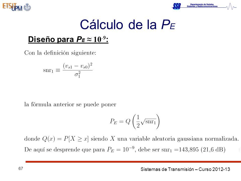 Sistemas de Transmisión – Curso 2012-13 67 Cálculo de la P E Diseño para P E 10 -9 :