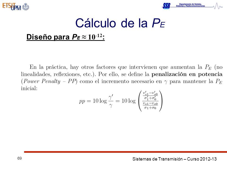 Sistemas de Transmisión – Curso 2012-13 69 Cálculo de la P E Diseño para P E 10 -12 :