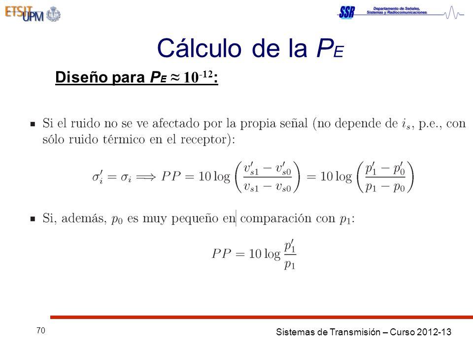 Sistemas de Transmisión – Curso 2012-13 70 Cálculo de la P E Diseño para P E 10 -12 :
