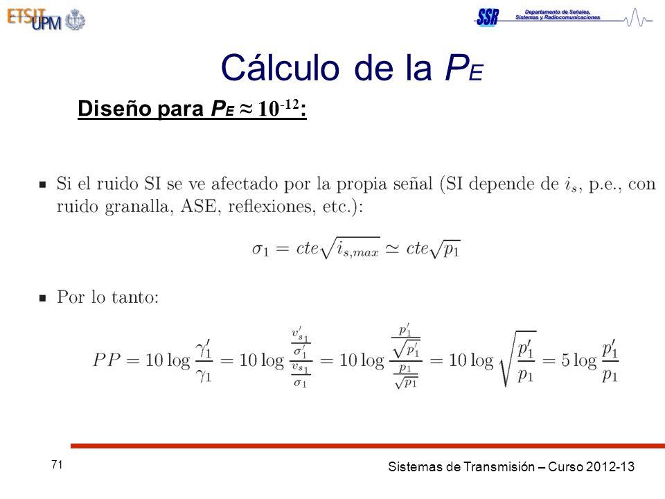 Sistemas de Transmisión – Curso 2012-13 71 Cálculo de la P E Diseño para P E 10 -12 :